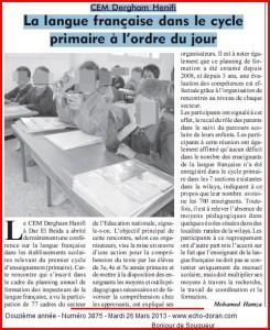 CEM Dergham Henifi La langue française dans le cycle primaire à l'ordre du jour dans 31.Oran enseignement-1-245x300